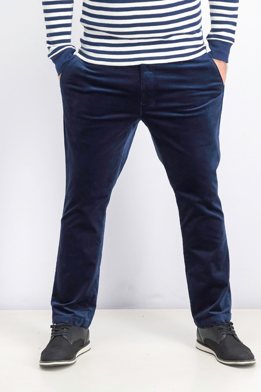 Men's Velvet Slim-Fit Pants, Ink/Navy Blue