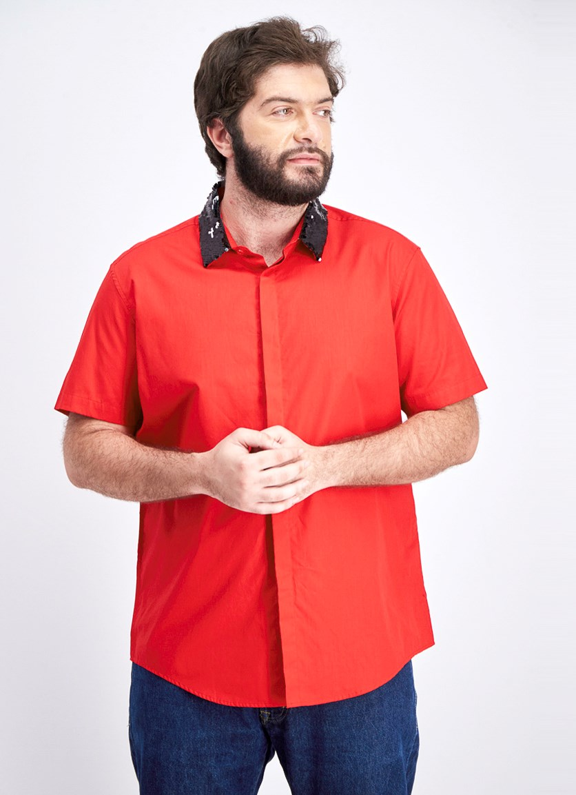 Men's Sequin Collar Button-Down Shirt, Licorice Red
