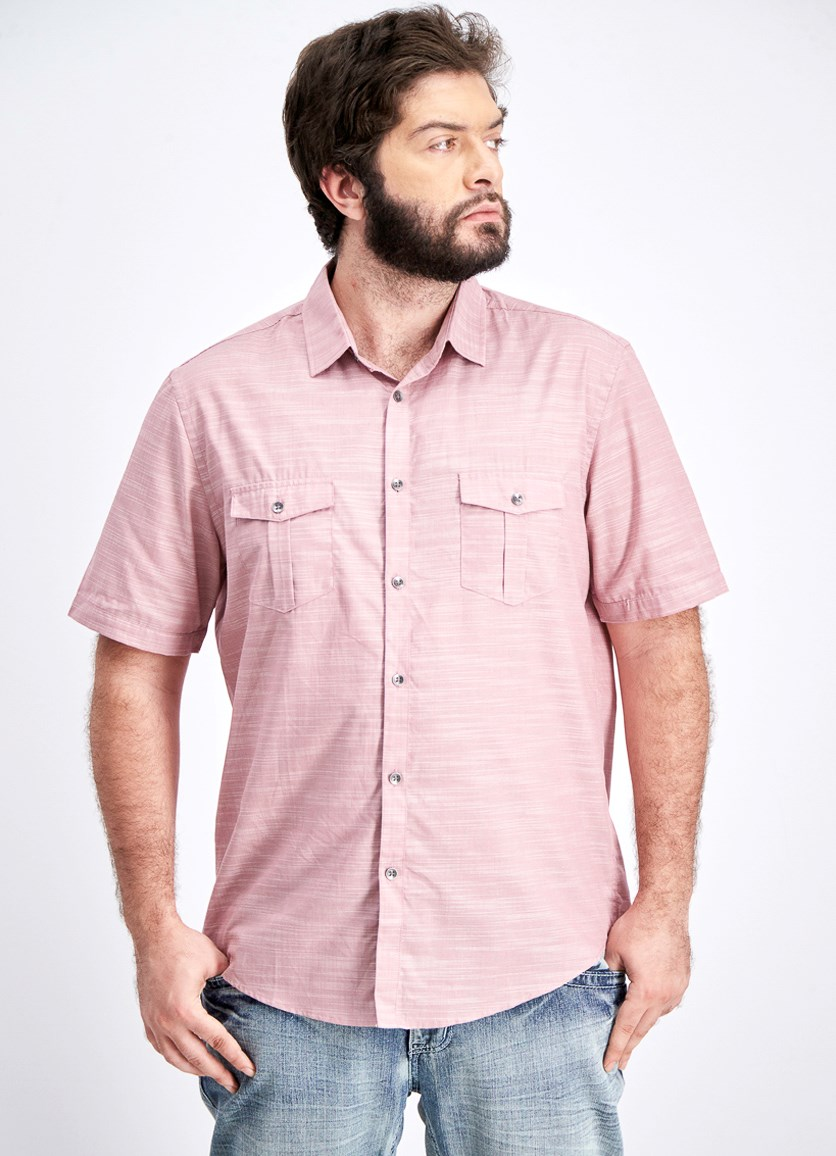 Men's Warren Textured Short Sleeve Shirt, Matte Rose