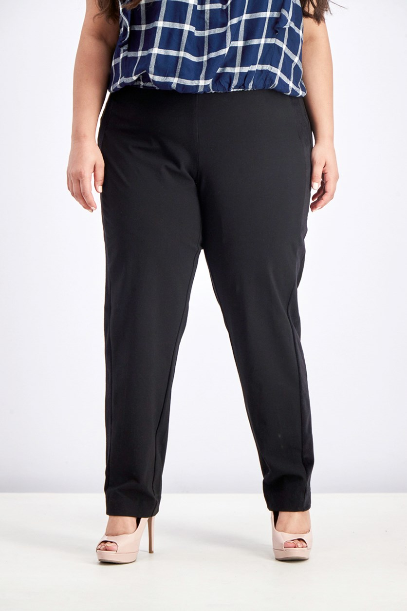 Plus Size Velvet Stripe Tummy Slimming Straight Leg Pants, Black