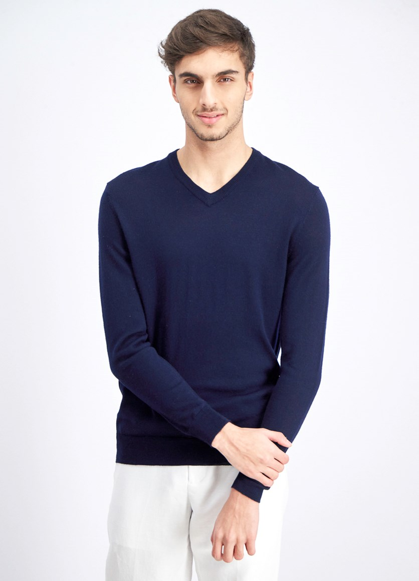 Men's V-Neck Sweater, Navy