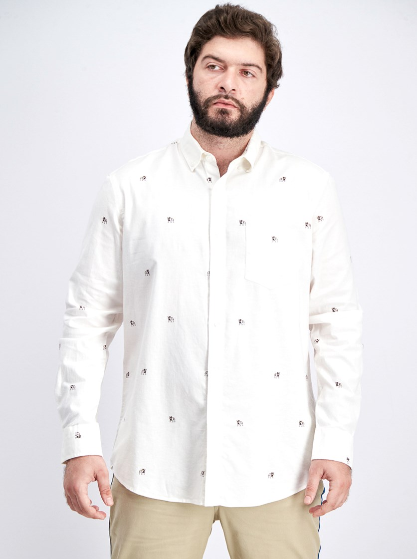 Mens Bulldog Oxford Shirt, Bright White