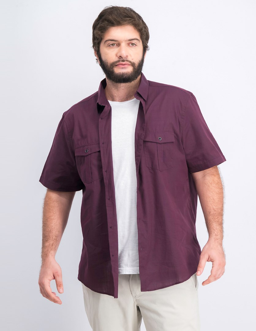 Warren Solid Textured Shirt, Port