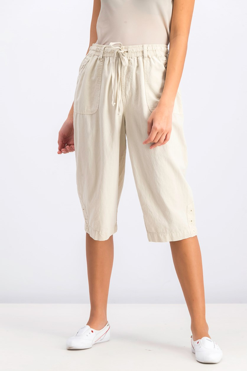 Cotton Cropped Pants, Stone Wall