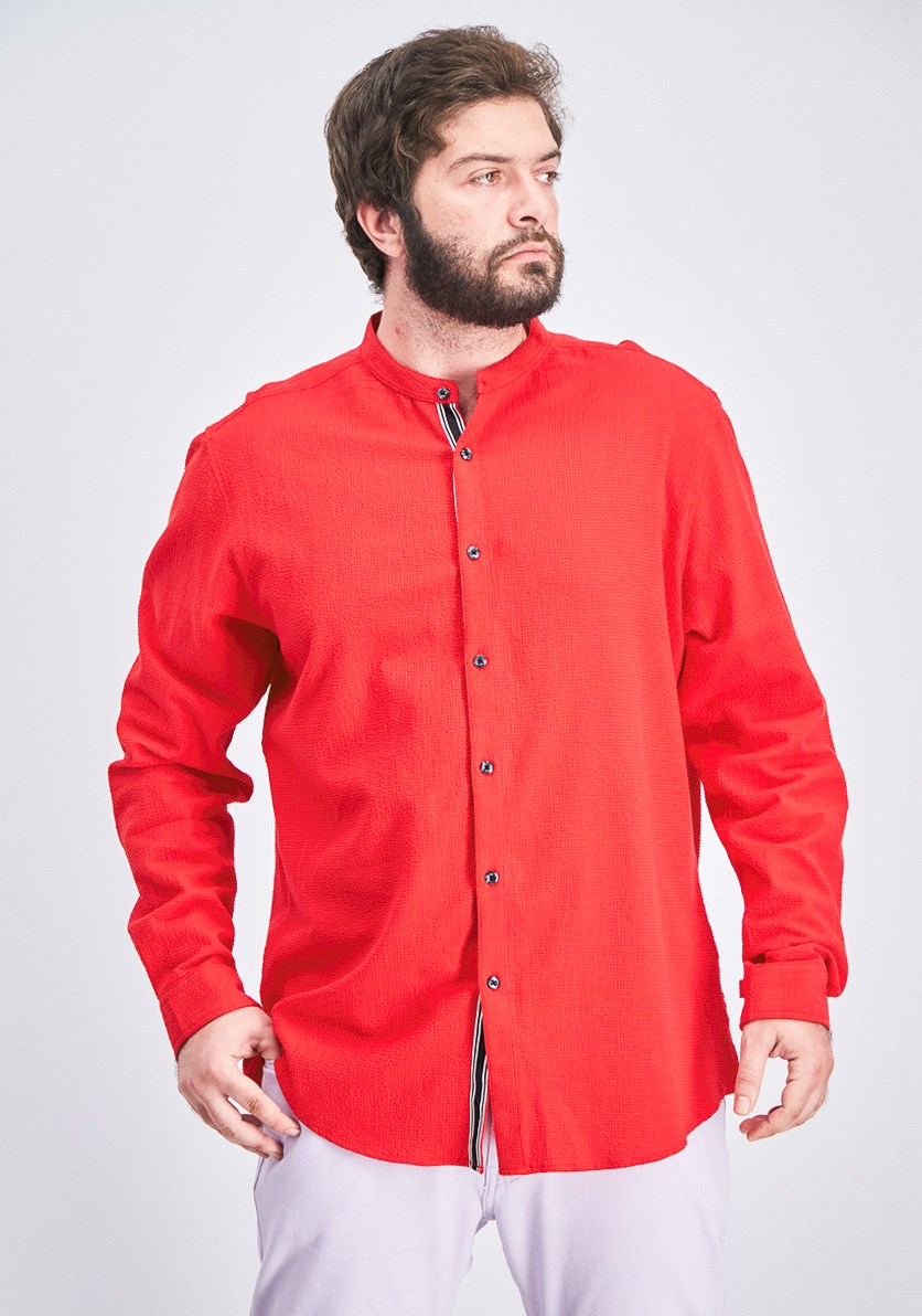 Men's Stretch Seersucker Shirt, Red
