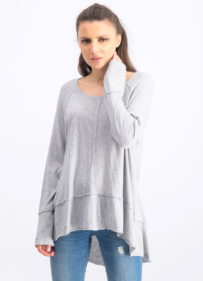 Women's High-Low Top, Light Grey Heather