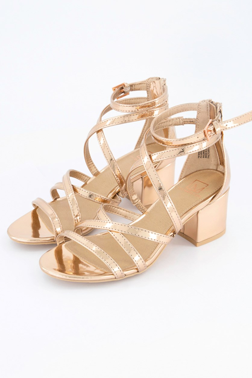 Womens Inez Patent Strappy Dress Sandals, Rose Gold