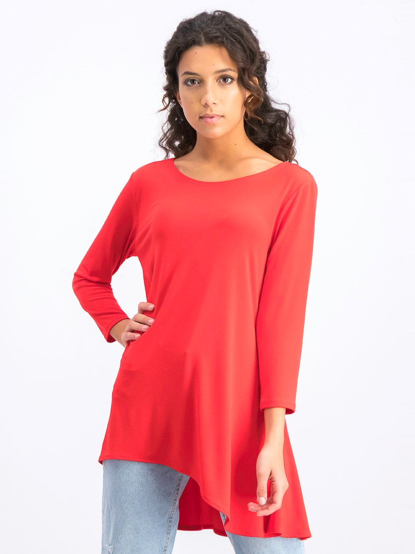 Women's High-Low Tunic, Red
