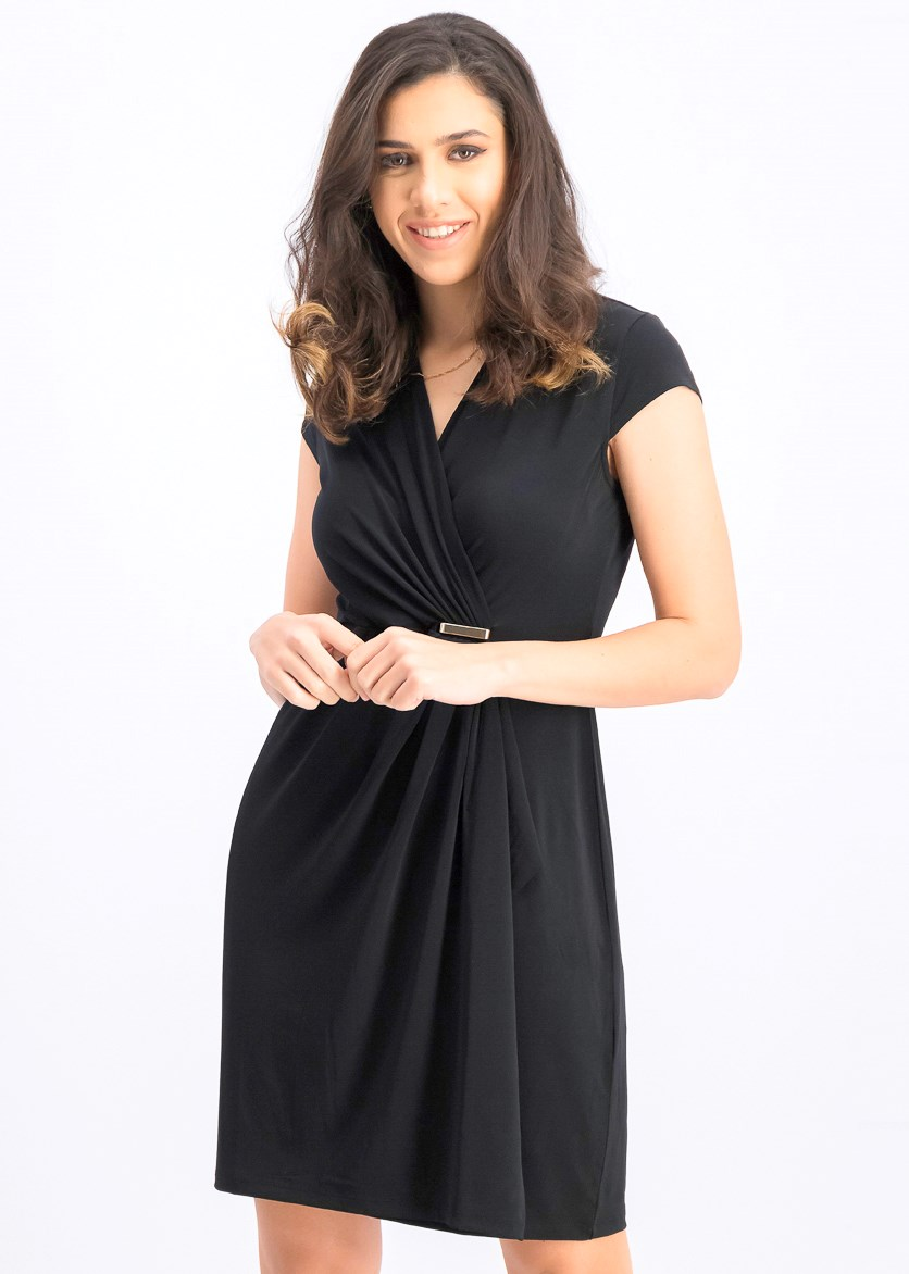 Women's Petites Embellished Ruffled Wrap Dress, Black