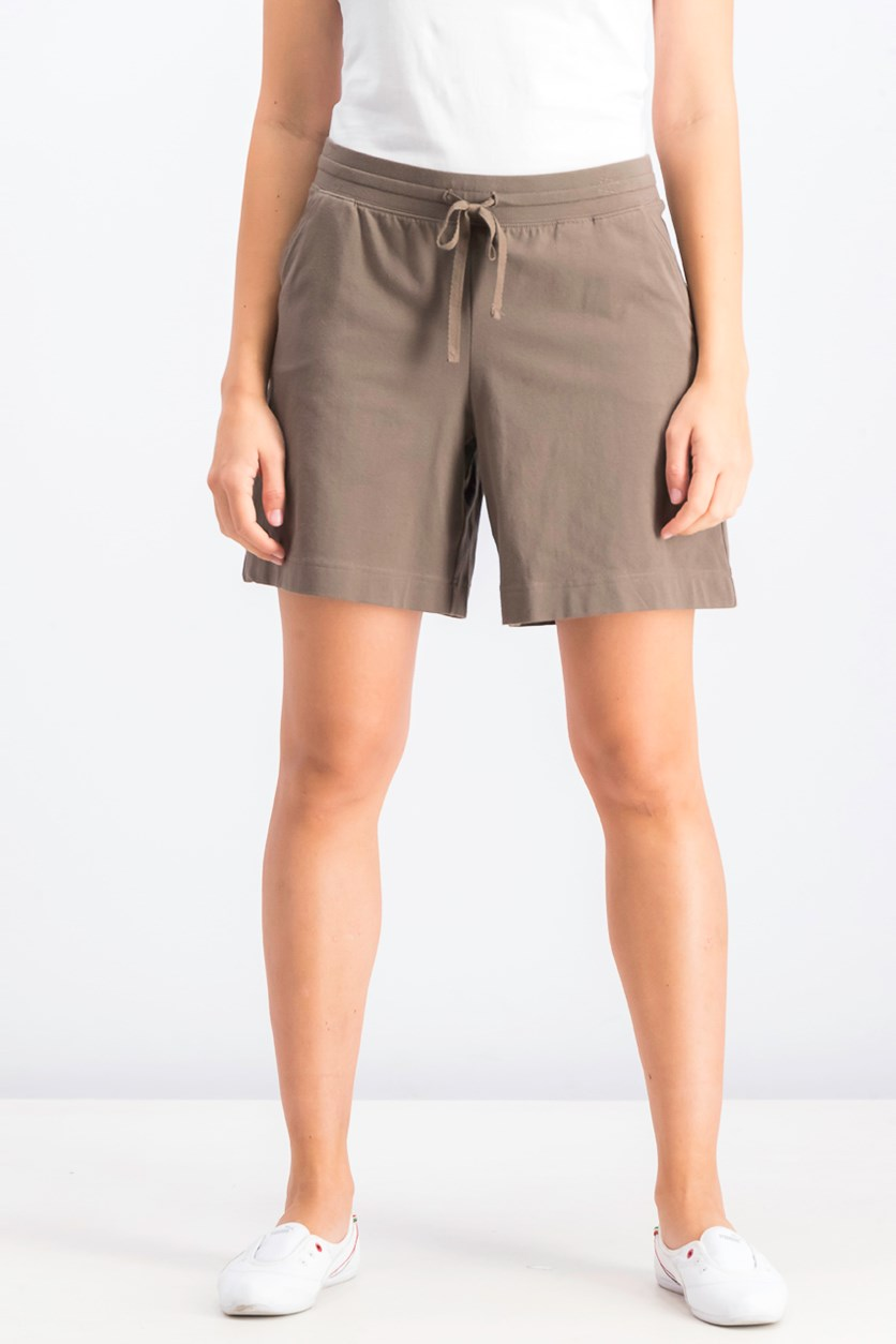 Women's Knit Drawstring Shorts, Brown Clay