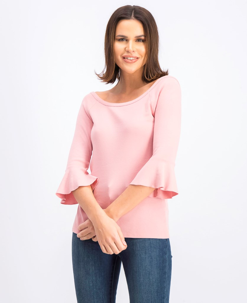 Women's Cotton Bell Sleeves Knit Top, Pink Kiss
