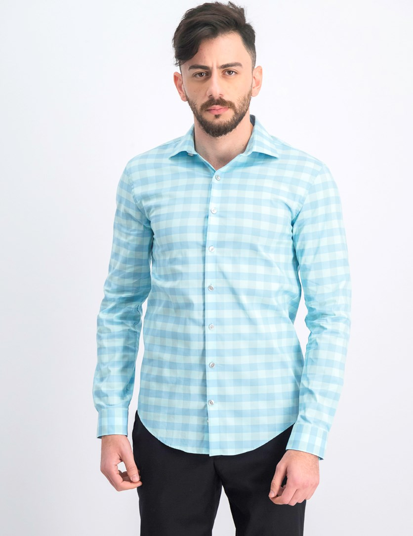 Men's Checkered Long Sleeves Dress Shirt, Mint