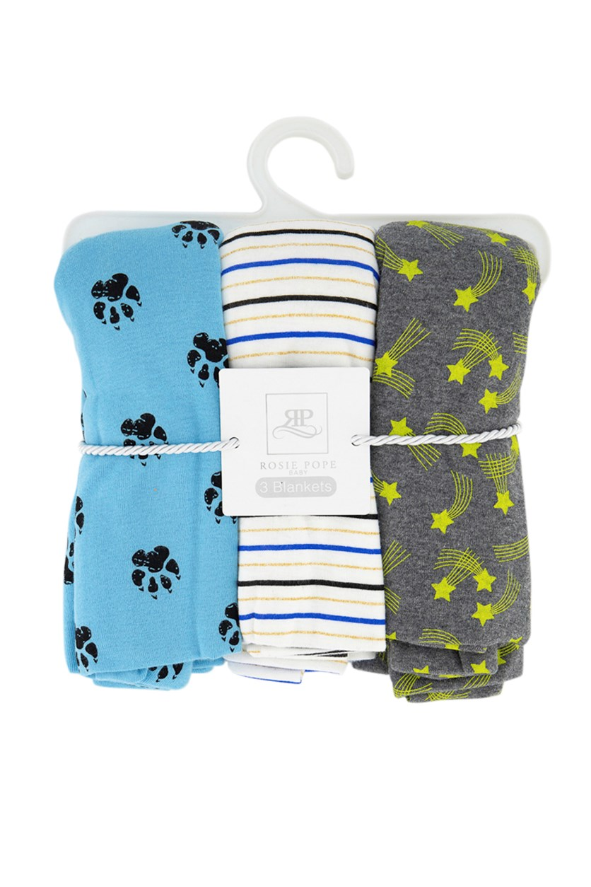 Baby Boys 3 Pack Swaddle Blankets, Grey/Blue/White