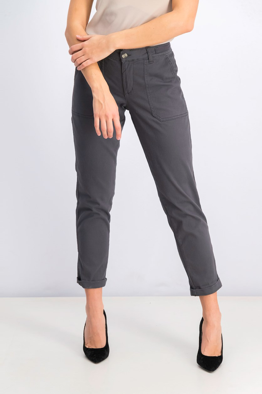 Women's Chino Pants, Graphic Charcoal