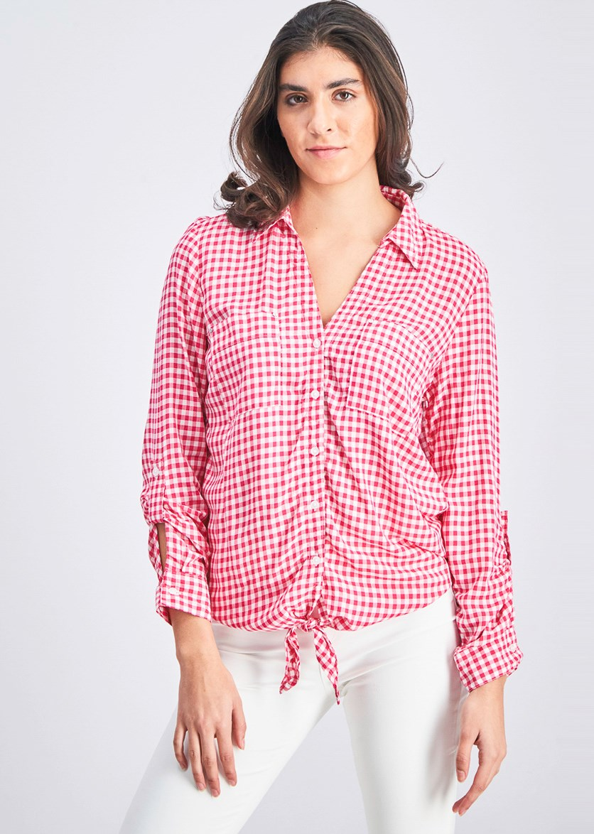 Women's Tie Long Sleeve Top, Gingham Pink
