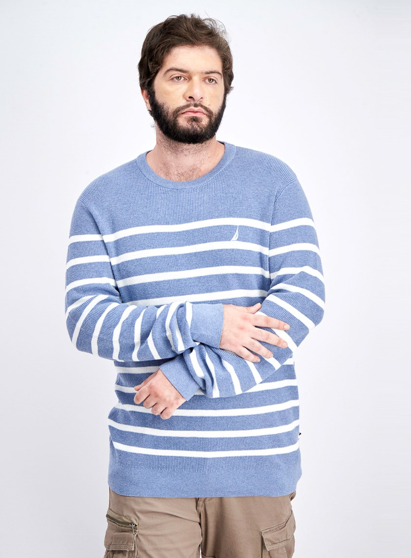 Men's Breton Striped Sweater, Blue Heather/White
