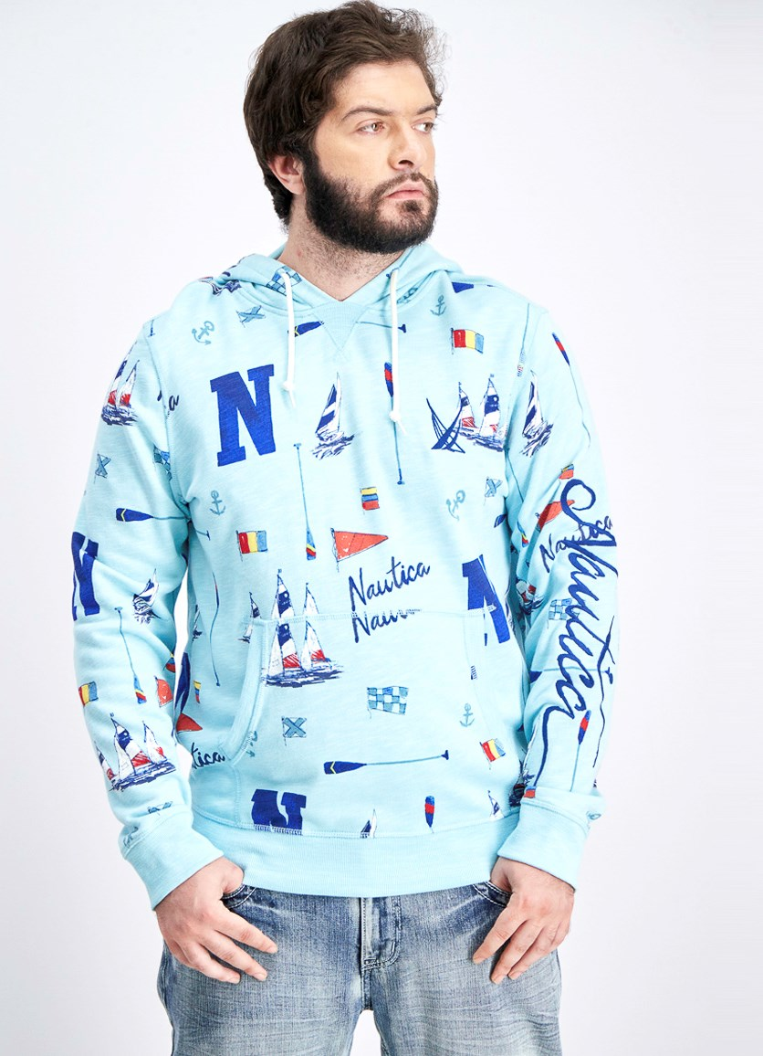 Men's Logo Graphic Hoodie Sweater, Harbor Mist