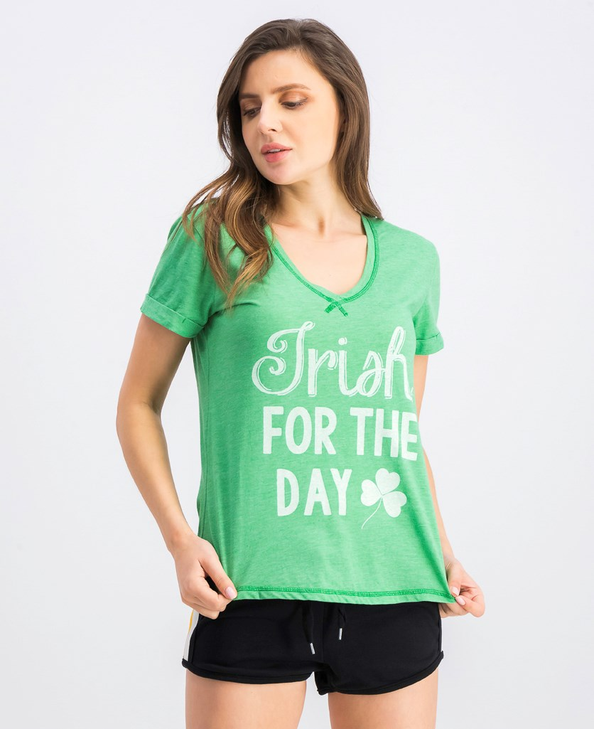 Women's Graphic Printed Short Sleeve Sleep Top, Green
