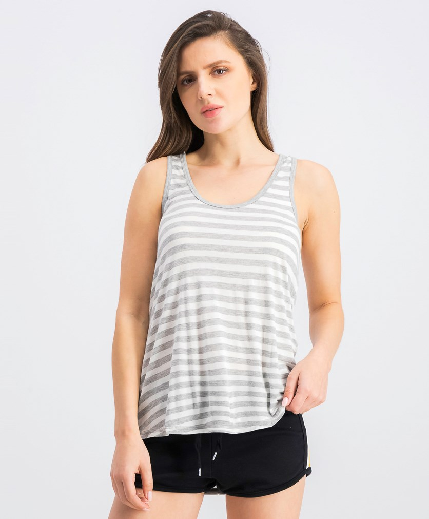 Women's Striped Lounge Tank Top, Heather Gray