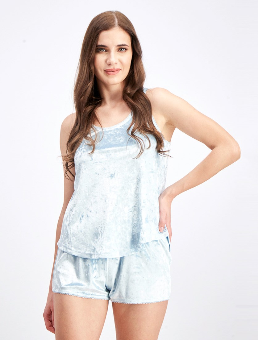 Women's Crushed Velour High/Low Hem Tank Top, Ice Blue