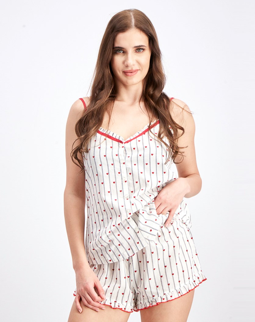 Women's Amour Cami, Ivory/Red