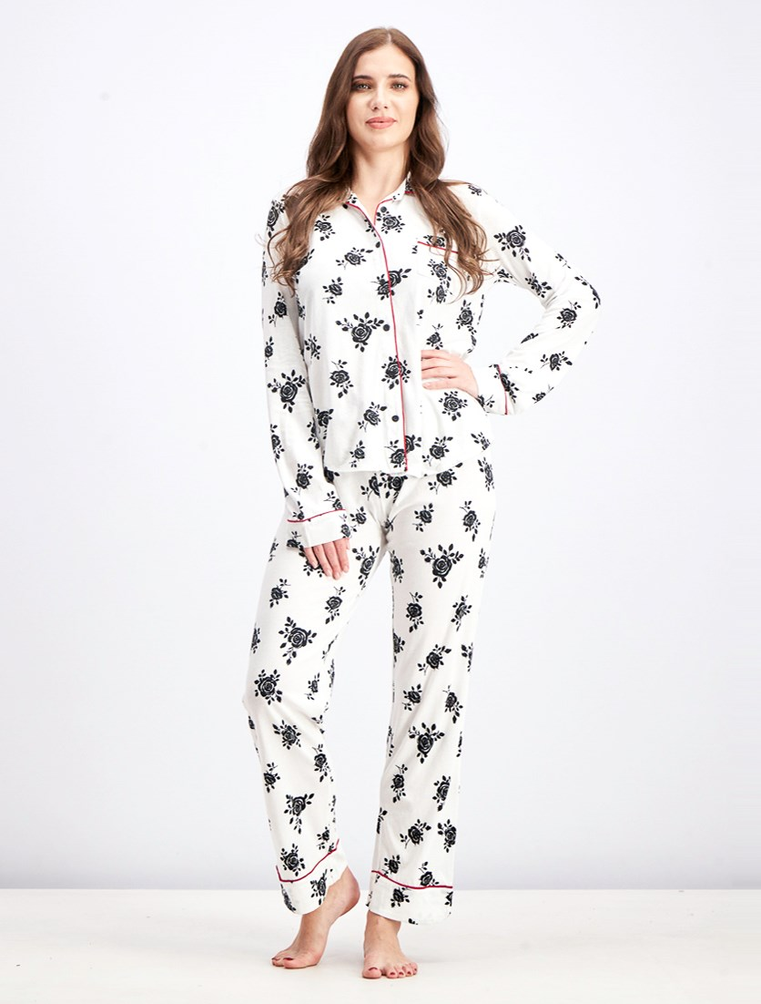 Women's 2 Pieces Give Love Pj Set, Ivory Combo