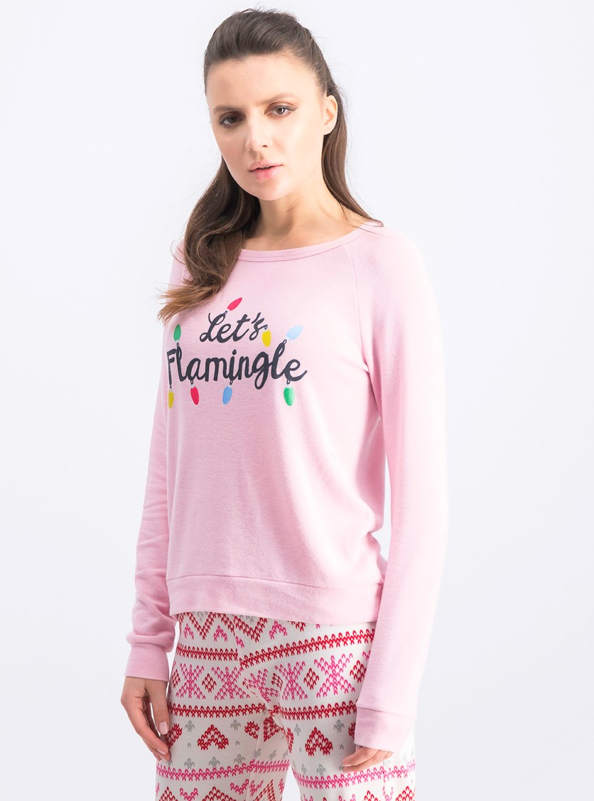 Let's Flamingle Long Sleeve Graphic Top, Pink