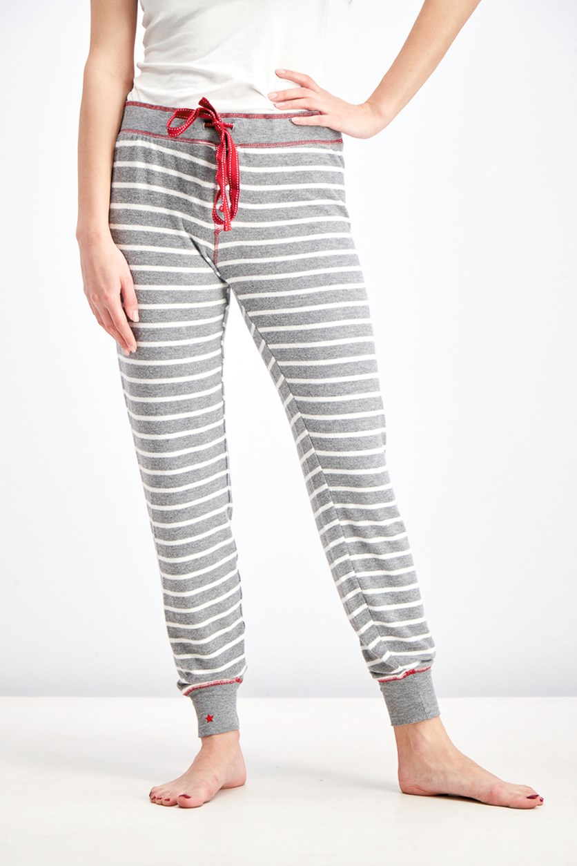 Women's Stripe On Holiday Pant, Heather Gray