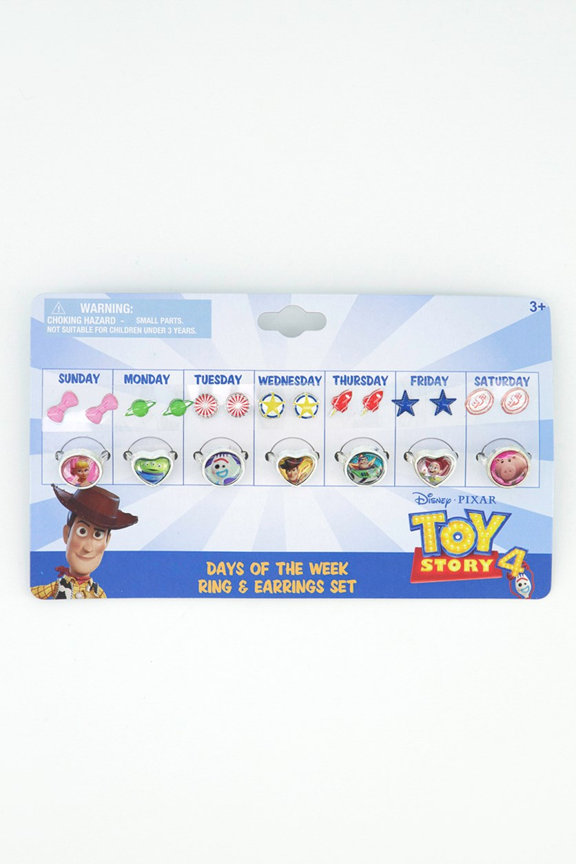 Toy Story 4 Days Of The Week Ring &Stick On Earring Set 21 Pcs, Blue/Pink/Green