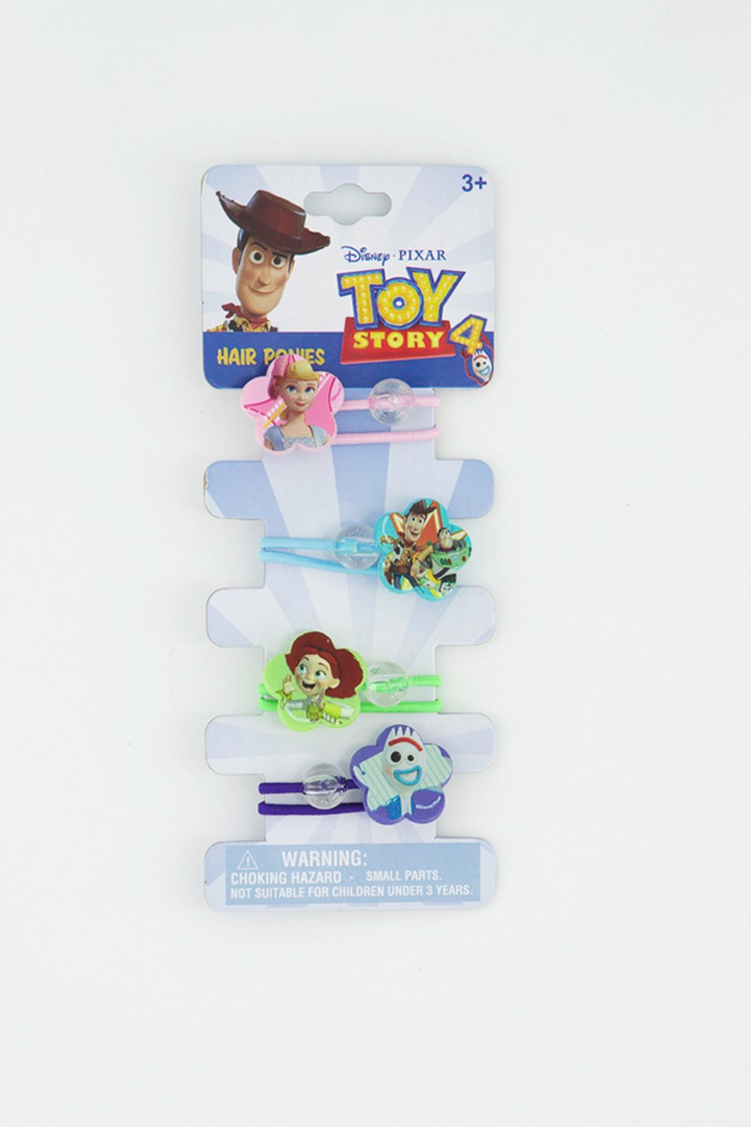 Toy Story Girl 4 Pieces Hair Ponies, Pink/Blue/Lime/Purple