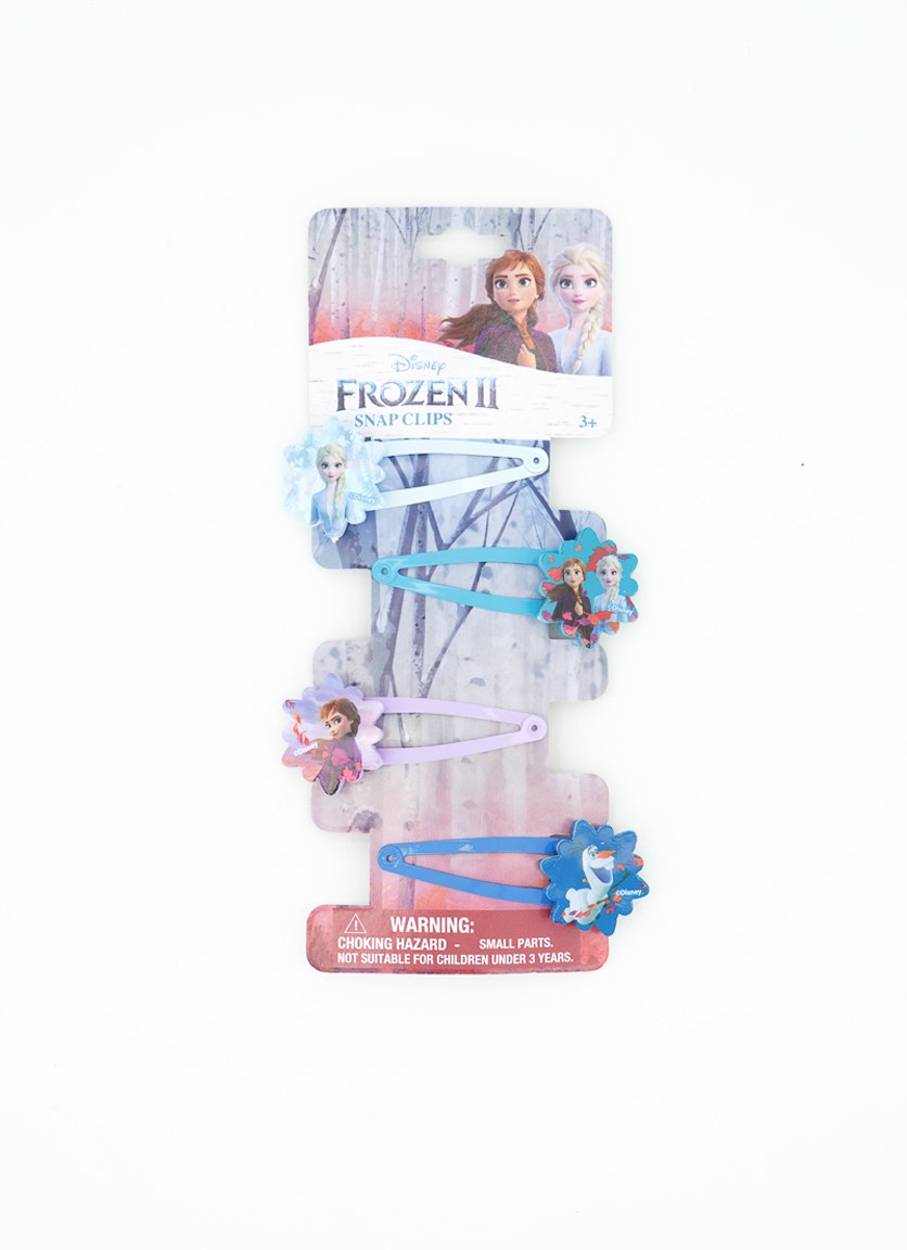 Frozen 2- 4 on Snaps with Plastic Motifs Hair Accessory, Blue/Purple