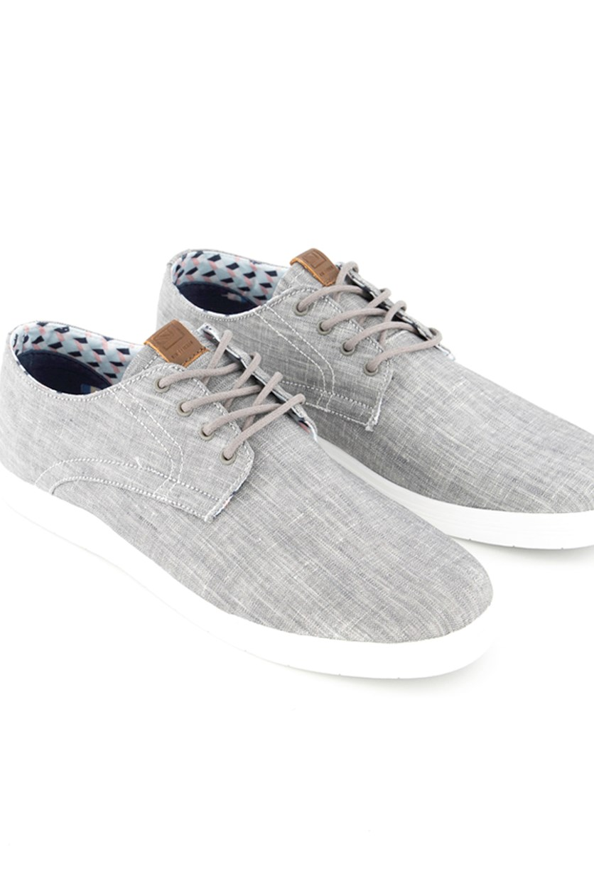 Men's Beltone Oxford Casual Shoes, Grey Chambray