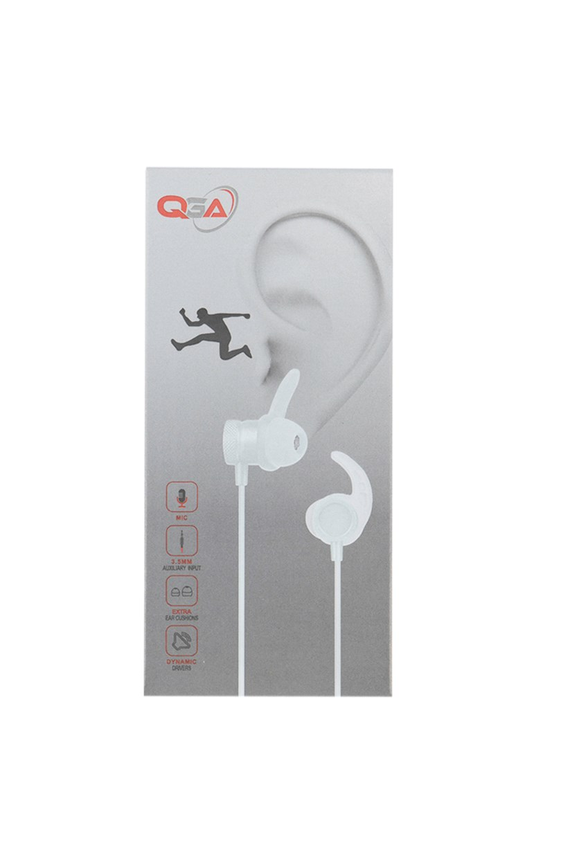 Wired Sport Earphone With Secure-Fit Silicone Ear Fins, White