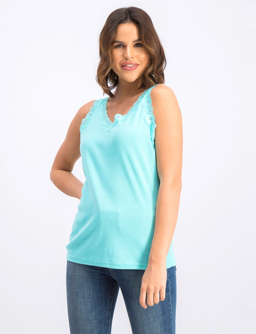 Women's Cotton Lace-Trim Tank Top, Pacific Aqua