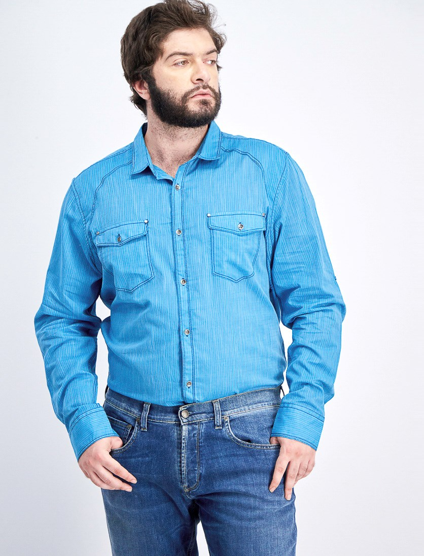 Mens Long Sleeve Vera Casual Shirt, Fjord Blue