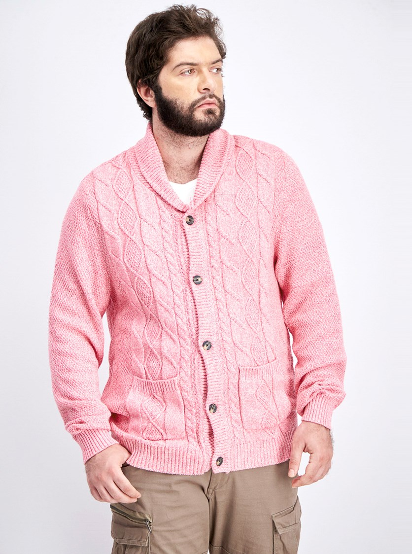 Men's Cable Knit Shawl Collar Cardigan Sweater, Pink