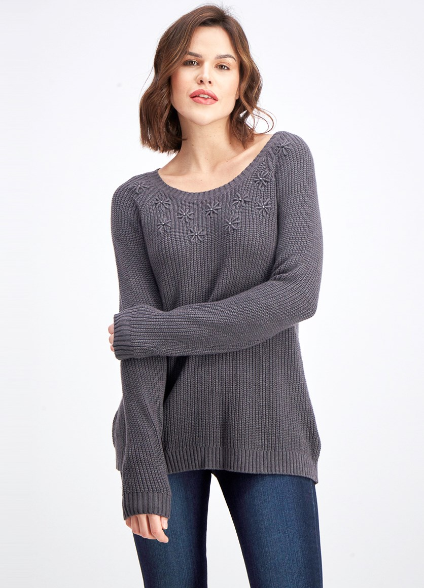 Women's Embroidered Stud-Embellished Sweater, Charcoal