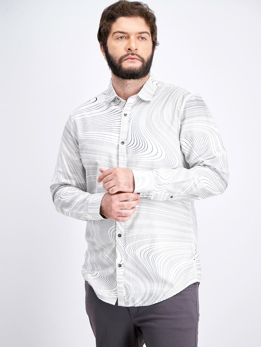 Men's Swirl Print Shirt, White Pure