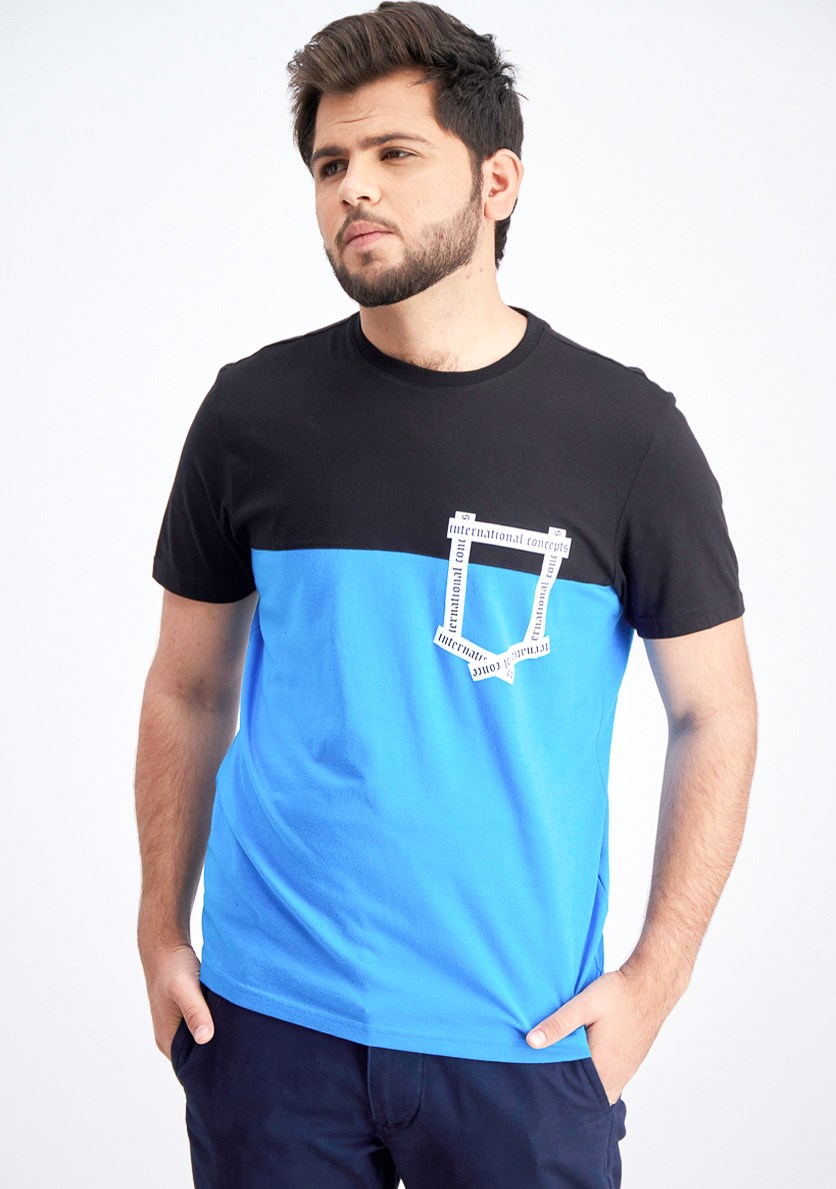 Men's Colorblocked T-Shirt, Black/Blue