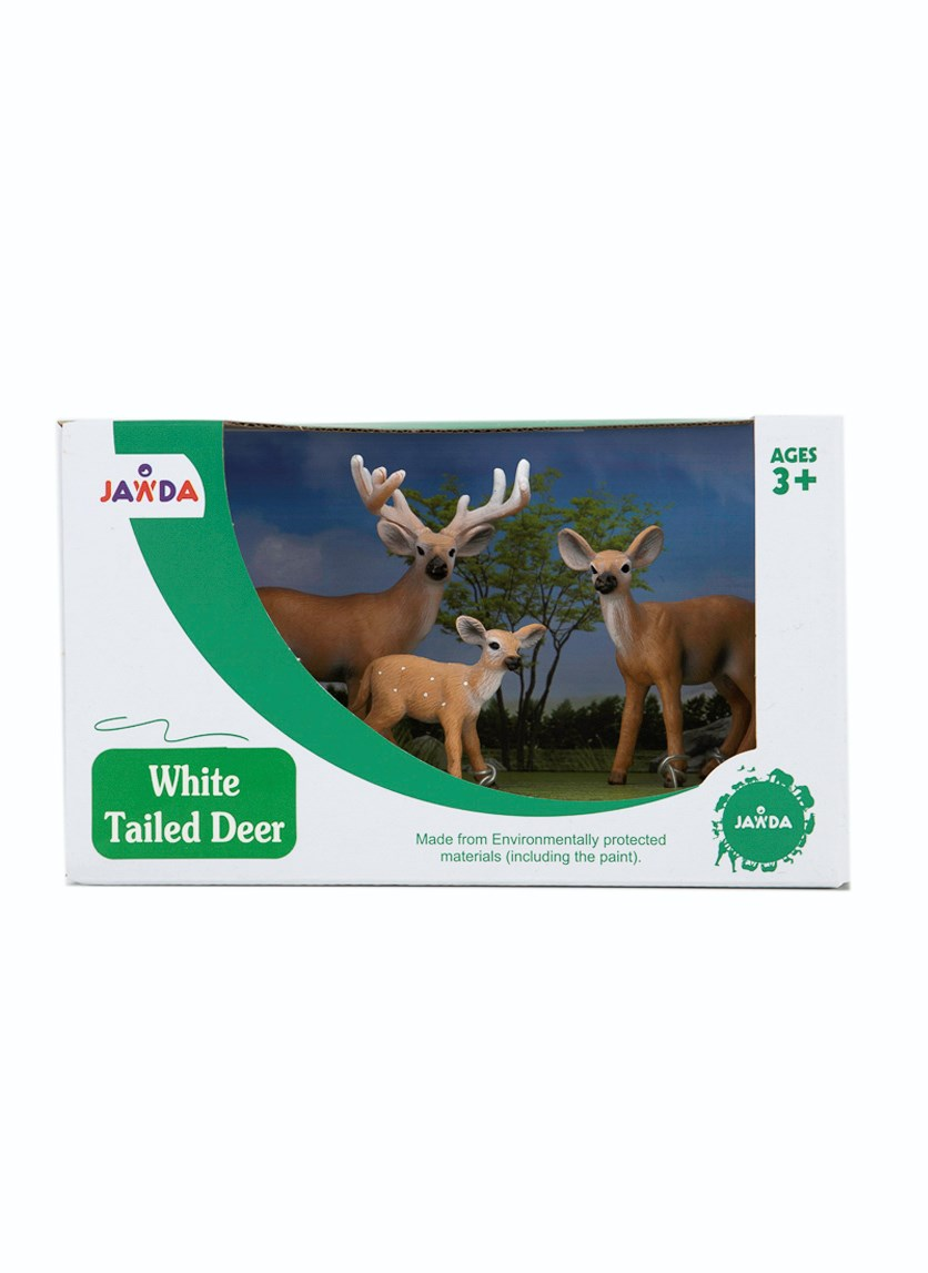 3 Pieces Set Of White Tailed Deer, Brown/Green