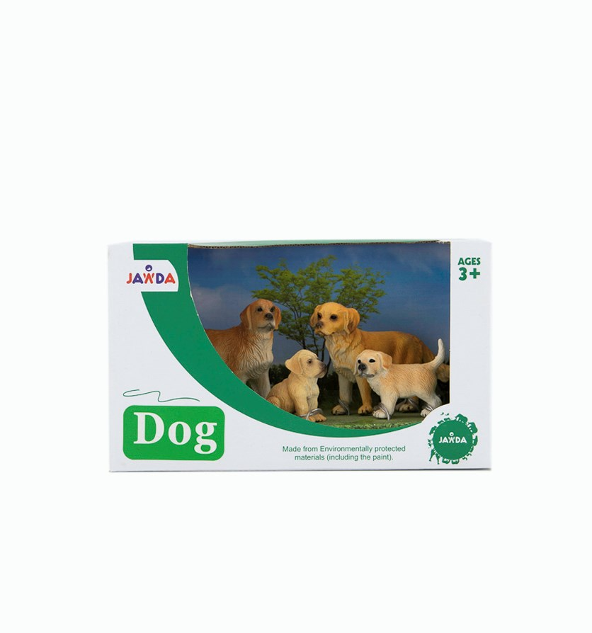 4 Pieces Set Of Dogs, Brown/Green