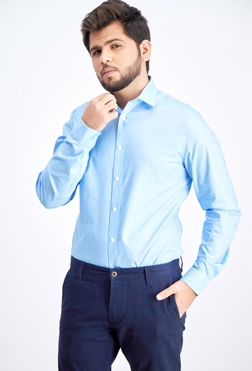 Men's Slim-Fit Stretch Gray Solid Dress Shirt, Blue Hawaii