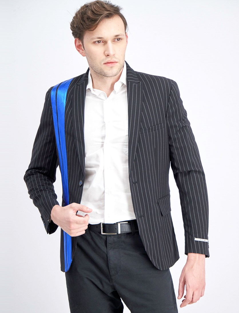 Men's Slim-Fit Pinstriped Pieced Blazer, Black/Blue