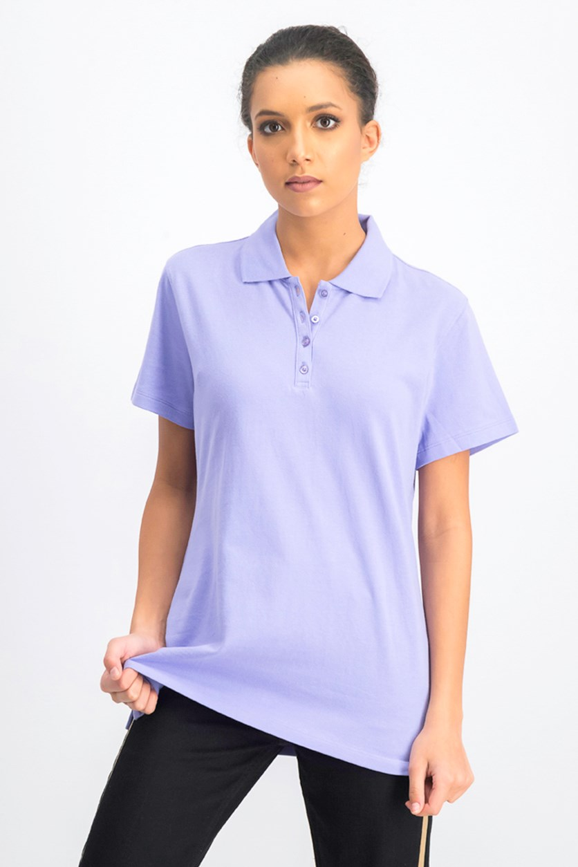Women's Cotton Pique Polo Top, Purple Bliss