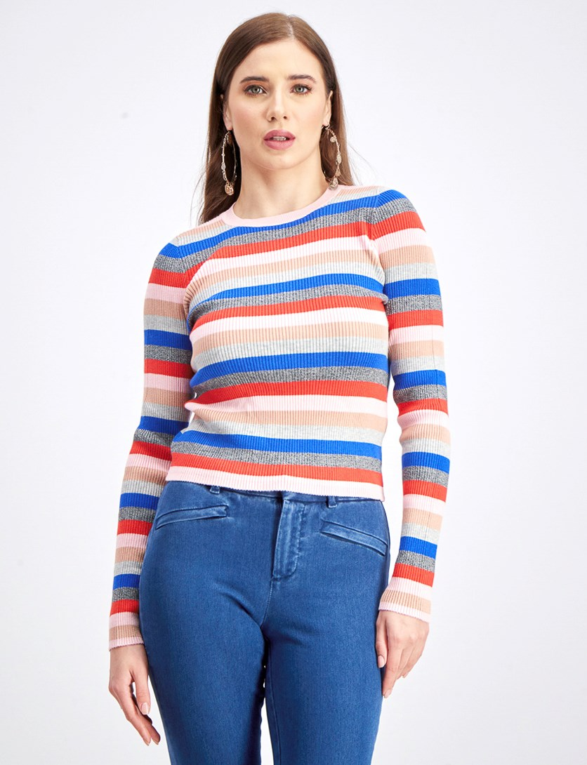 Women's Ribbed Sweater, Pink/Blue/Red/Grey