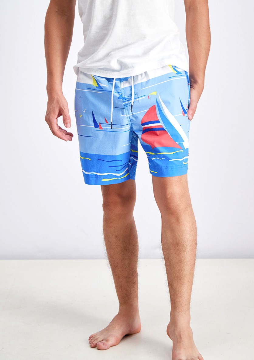 Men's Sailboat Printed Drawstring Swim Trunks, Blue