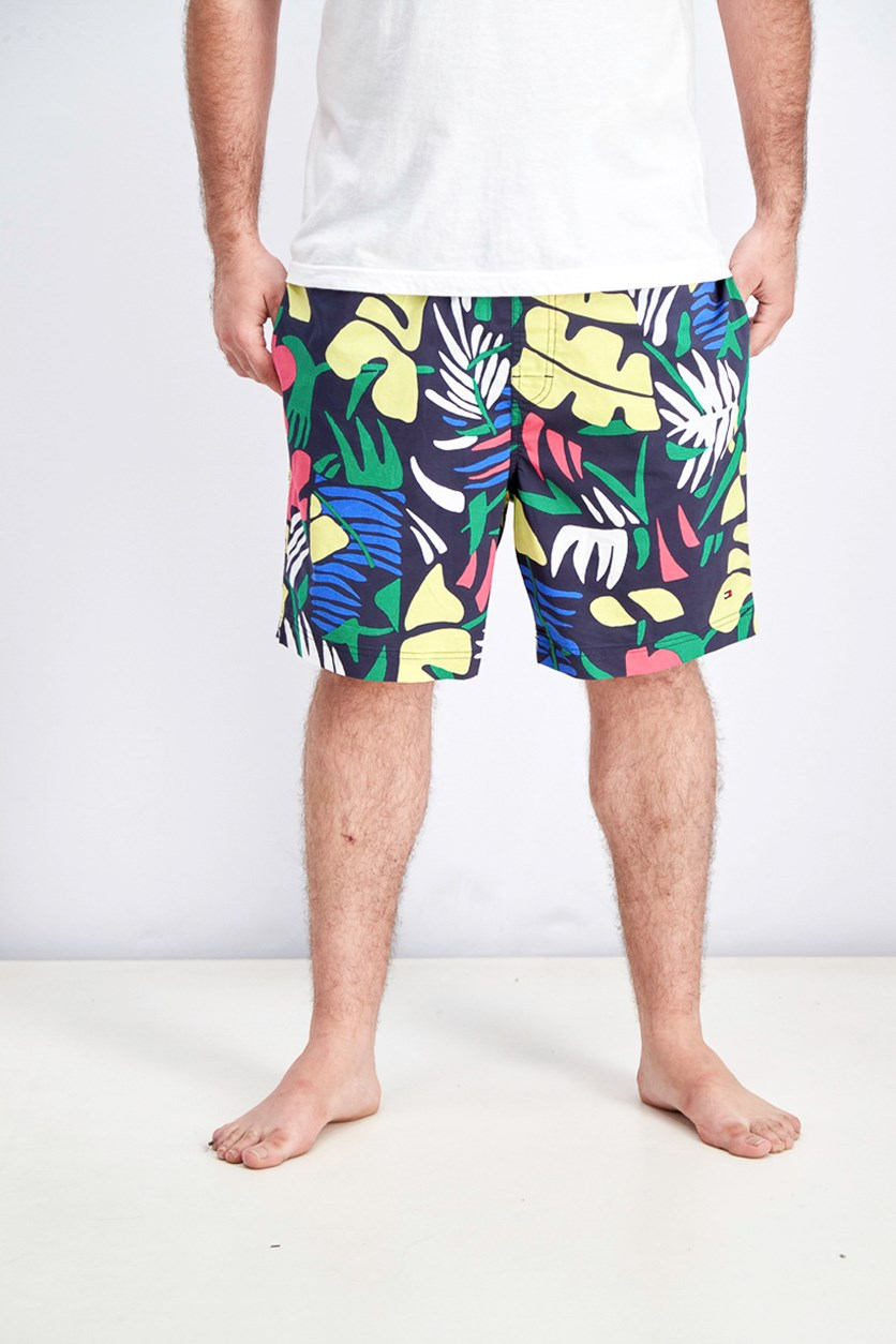 Men's Flex Tropical Graphic Swim Trunks, Navy Combo