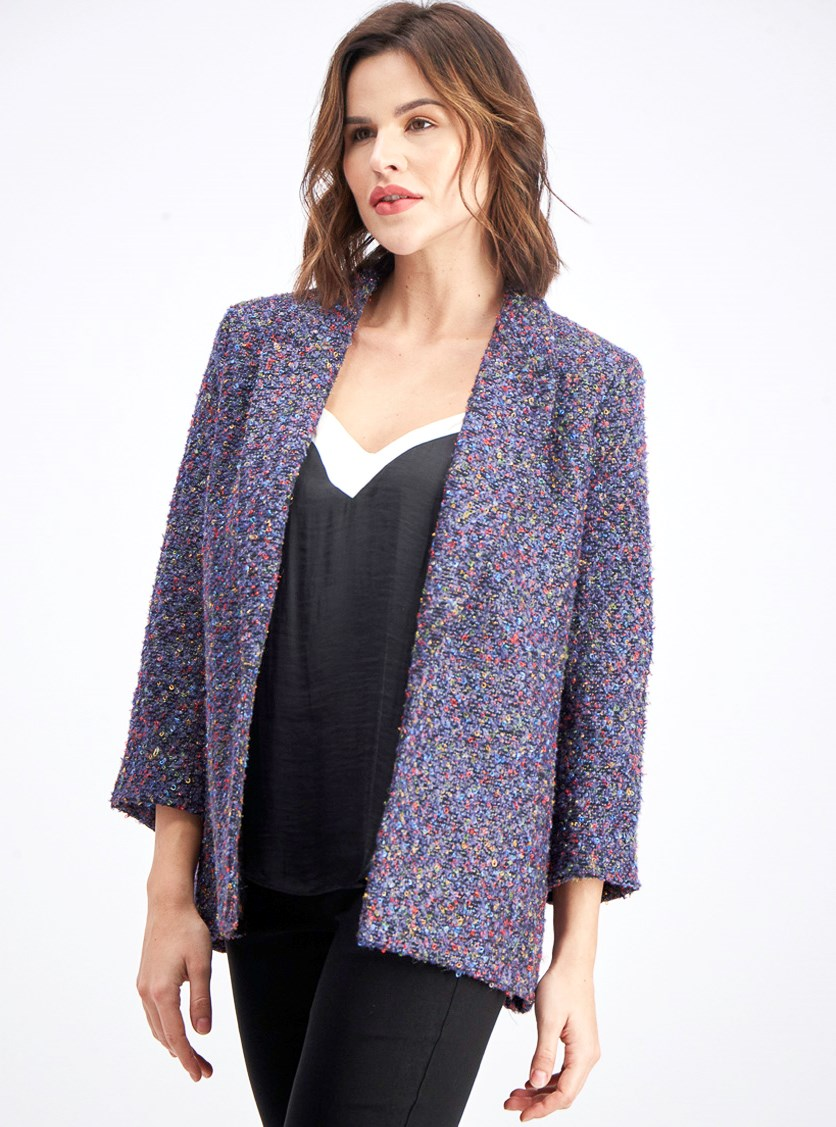 Women's Tweed Flyaway Blazer, Purple/Black Combo