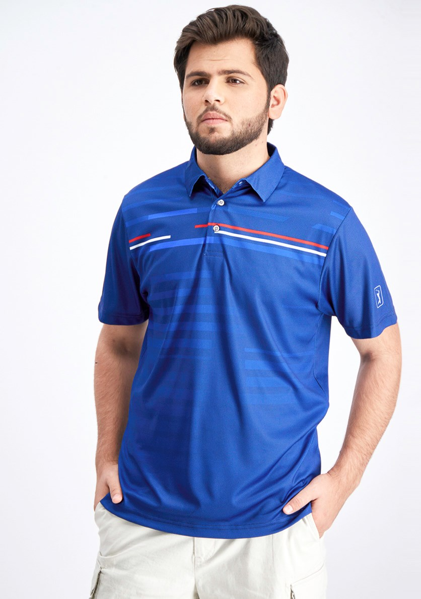 Men's Motionflux Performance Broken Shadow Stripe Polo, Peacoat