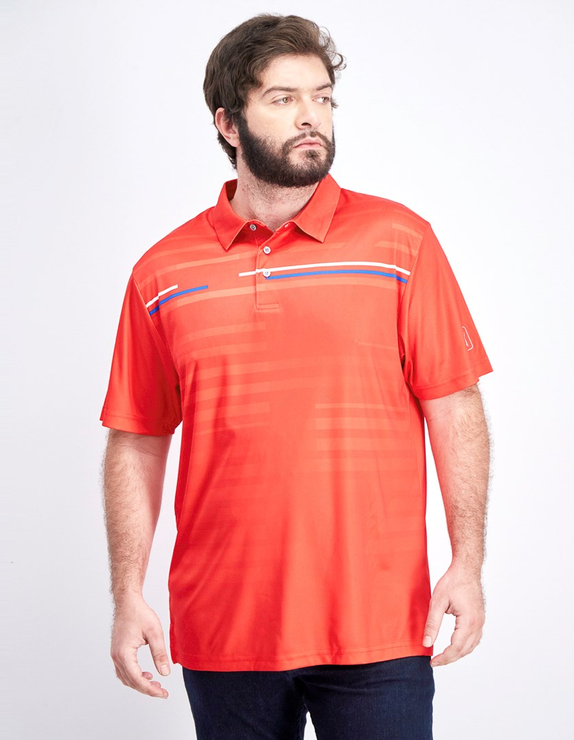 Men's Shadow-Stripe Polo Shirt, Goji Berry